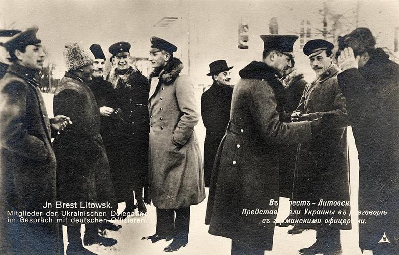 Делегаты от УНР и Тройственного союза, в ходе разработки соглашения, начало февраля 1918 года