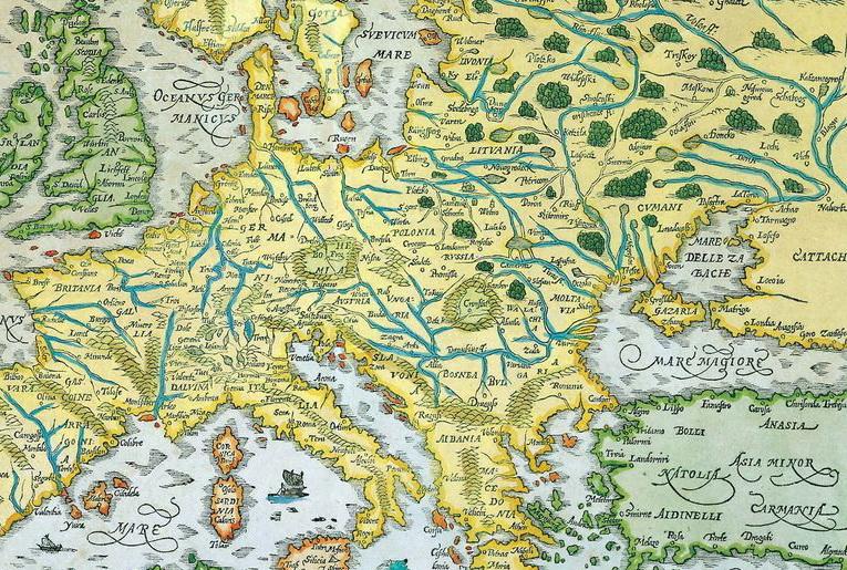 Фрагмент карты Европы, изданной в 1544 году Герхардом Меркатором (Gerhardus Mercator 1512-1594), на которой Юго-Восточнее Польши (POLONIA),  на месте современной Галичины указана Россия (RUSSIA).