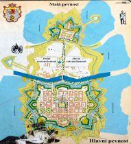 Терезин. Укрепленный гарнизонный город. Вверху - отделенная от него рекой «Малая крепость» с тюрьмой.