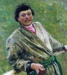 'Белорус'- портрет Сидора Шаврова. Илья Репин, 1892, имение в Здравнево под Витебском (фрагмент).